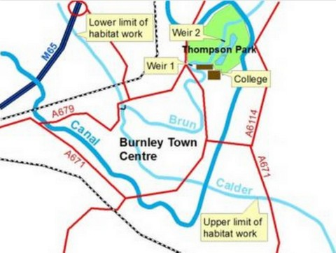 Burnley river map - Ribble Rivers Trust