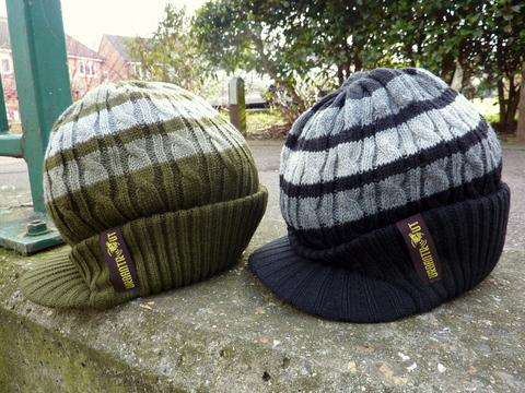 Olive, black stripe Urbantrout beanie hats