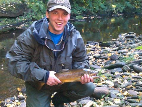 Ben Tunnacliffe with Colne trout - Mick Pogson