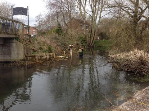 Channel narrowing 2 at Watermills Park - Aquamaintain