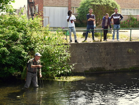 Wandle fishing with audience